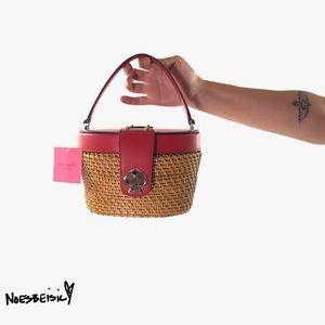 Kate Spade Rose Leather & Wicker Basket Bag NWT
